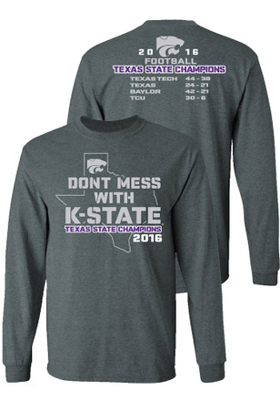 K-State Wildcats Mens Grey Texas State Champions Tee