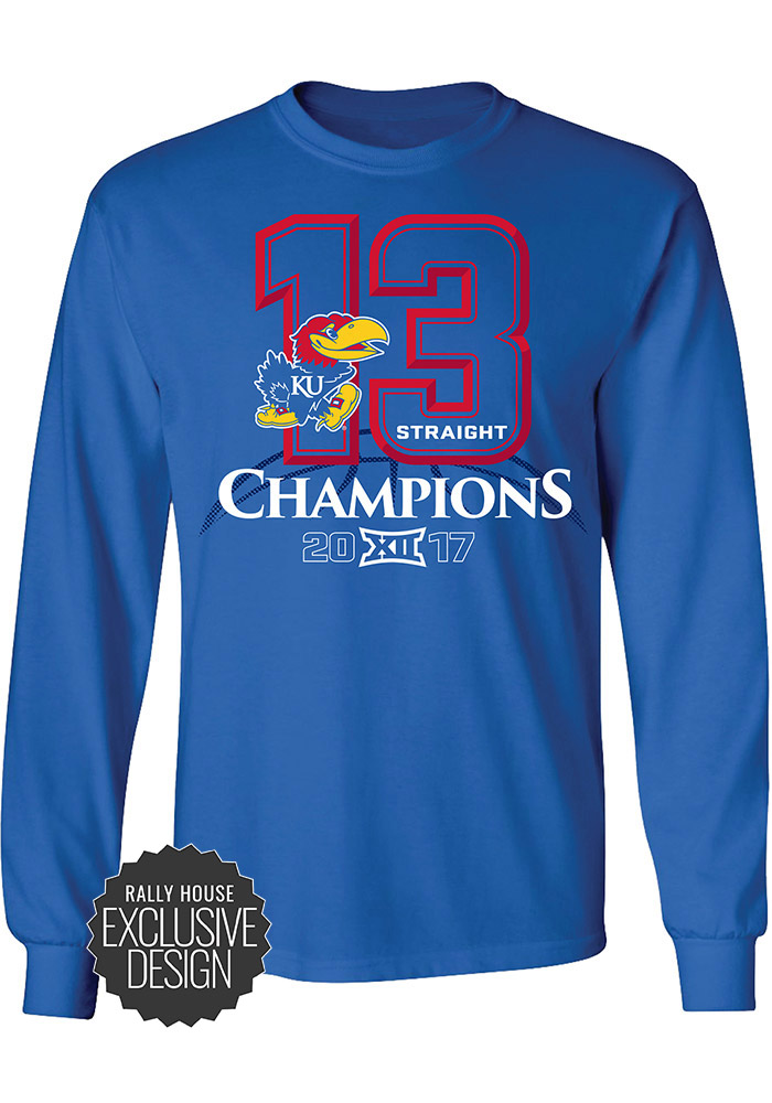 Kansas Jayhawks Blue Big 12 Champions Banners Long Sleeve T Shirt - Image 1