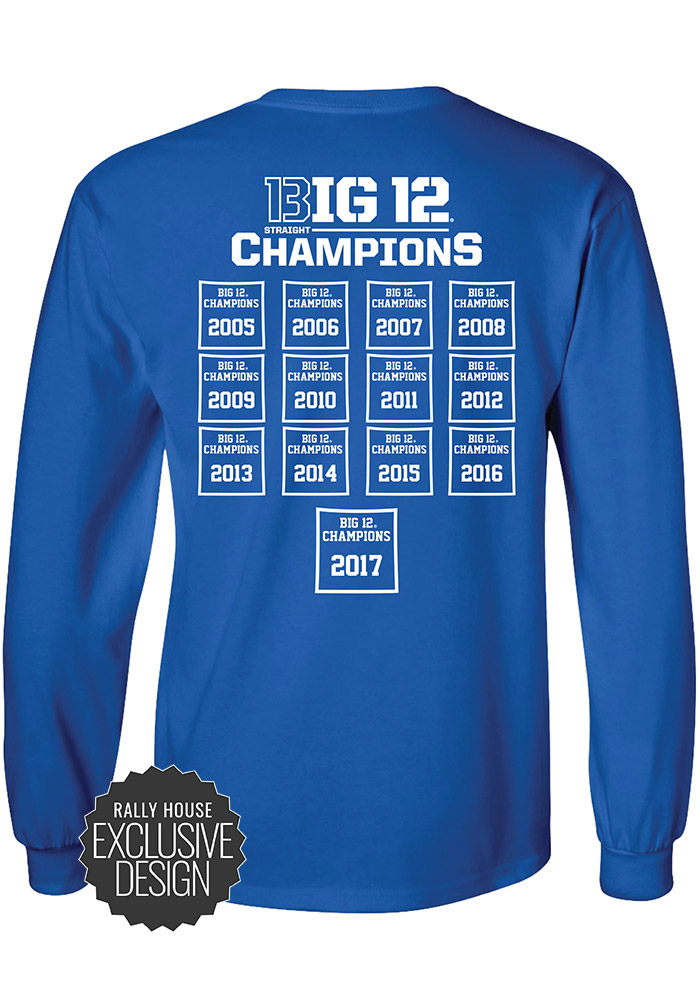 Kansas Jayhawks Blue Big 12 Champions Banners Long Sleeve T Shirt - Image 2