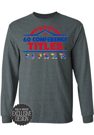 KU Jayhawks Mens Grey 60 All-Time Conference Championships Tee