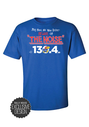 KU Jayhawks Mens Blue Beware of the Noise Tee