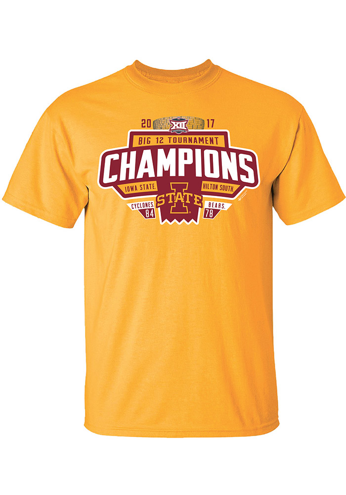 Iowa State Cyclones Gold 2017 Conference Tournament Champion Short Sleeve T Shirt - Image 1