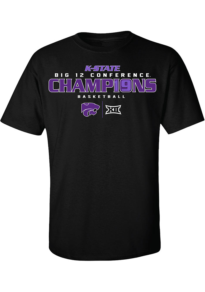 K-State Wildcats Black 2019 Big 12 Champions Short Sleeve T Shirt - Image 1