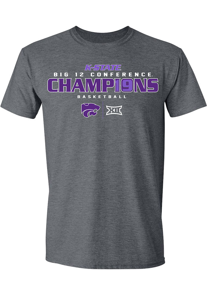 K-State Wildcats Grey 2019 Big 12 Champions Short Sleeve Fashion T Shirt - Image 1