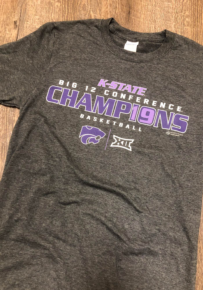 K-State Wildcats Grey 2019 Big 12 Champions Short Sleeve Fashion T Shirt - Image 2