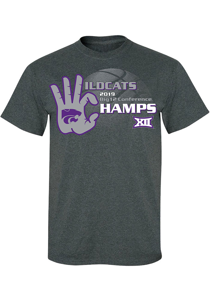 K-State Wildcats Grey 2019 Big 12 Champions Short Sleeve T Shirt - Image 1