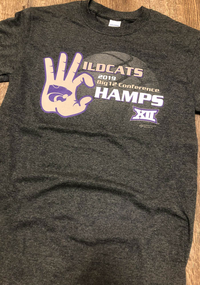 K-State Wildcats Grey 2019 Big 12 Champions Short Sleeve T Shirt - Image 2