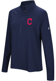 Cleveland Indians Womens Under Armour Passion Left Chest 1/4 Zip - Navy Blue