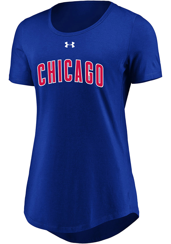 Chicago Cubs Womens Passion Team Font Blue Scoop T-Shirt