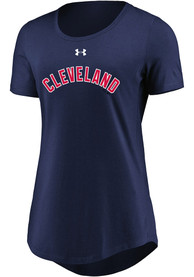 Cleveland Indians Womens Passion Team Font Navy Blue Scoop T-Shirt