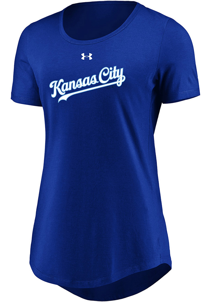 Kansas City Royals Womens Passion Team Font Blue Scoop T-Shirt