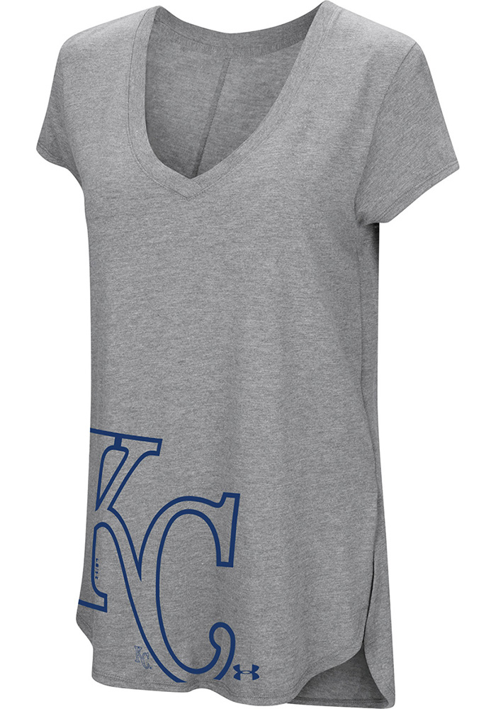 Kansas City Royals Womens Grey Pride Offset Logo T-Shirt
