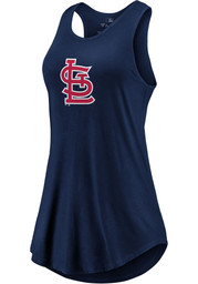 St Louis Cardinals Womens Majestic Synthetic Official Logo Tank Top - Navy Blue