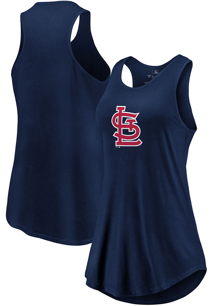 Majestic St Louis Cardinals Womens Navy Blue Synthetic Official Logo Tank Top - Image 3
