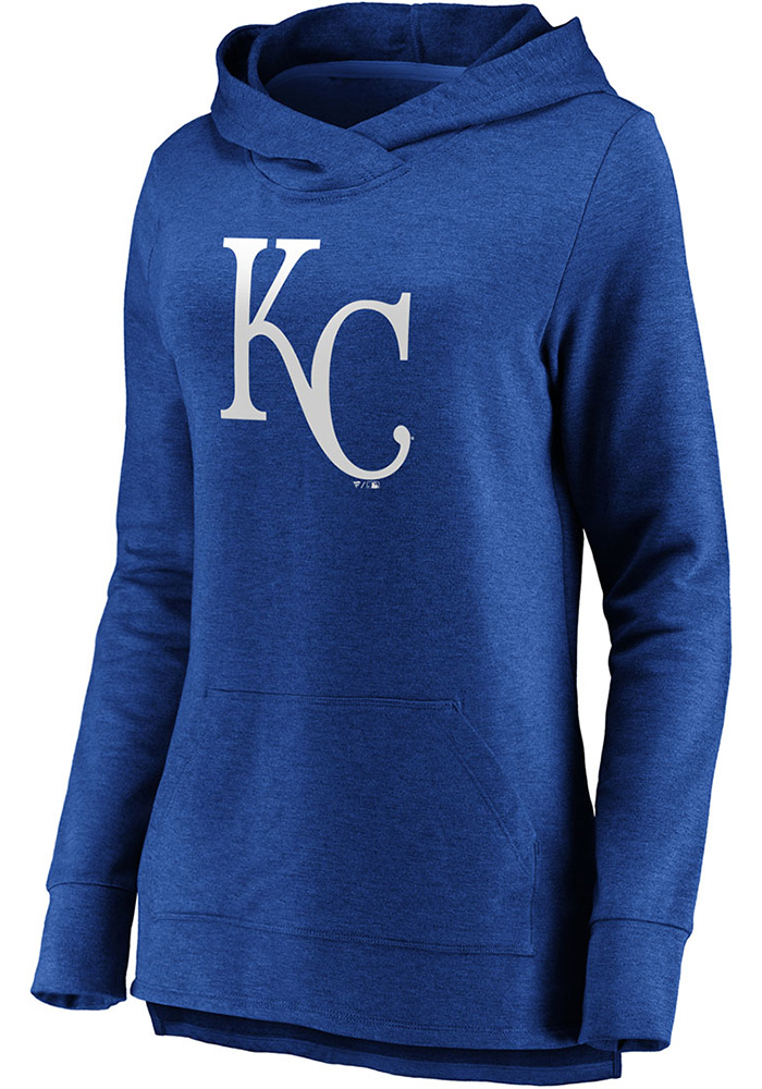 Majestic Kansas City Royals Womens Blue Synthetic Official Logo Hooded Sweatshirt - Image 1
