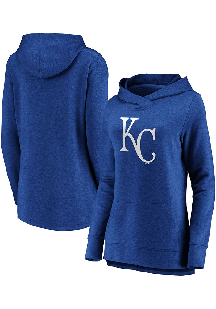 Majestic Kansas City Royals Womens Blue Synthetic Official Logo Hooded Sweatshirt - Image 3