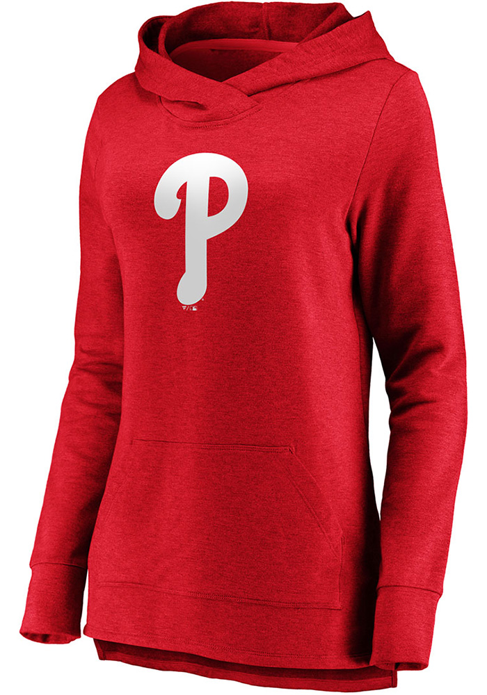 Majestic Philadelphia Phillies Womens Red Synthetic Official Logo Hooded Sweatshirt - Image 1