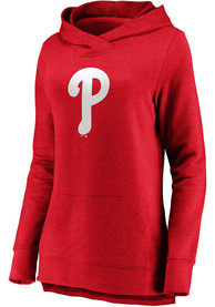 Philadelphia Phillies Womens Majestic Synthetic Official Logo Hooded Sweatshirt - Red