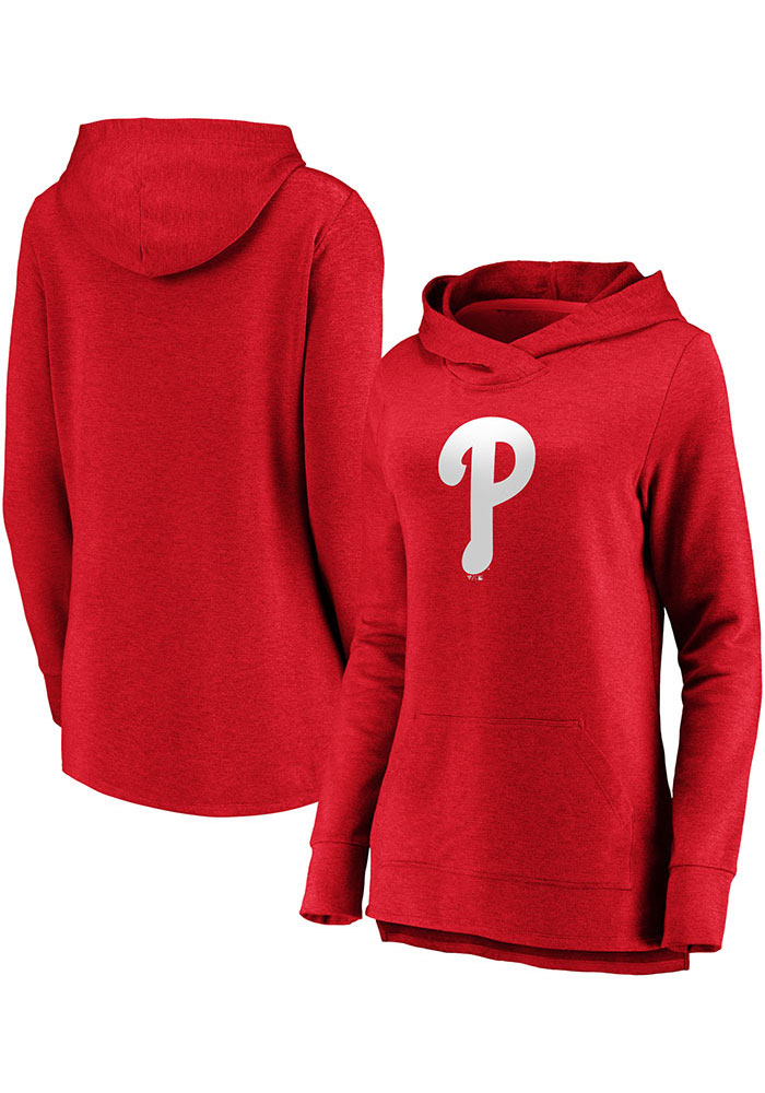 Majestic Philadelphia Phillies Womens Red Synthetic Official Logo Hooded Sweatshirt - Image 3