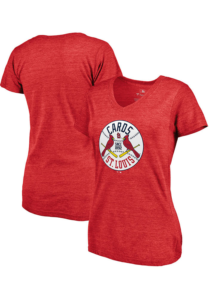 Majestic St Louis Cardinals Womens Red Were On Top Short Sleeve T-Shirt - Image 3