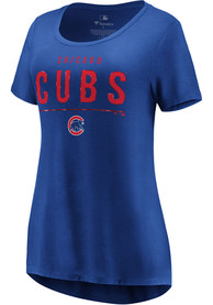 Chicago Cubs Womens Majestic Over Everything T-Shirt - Blue