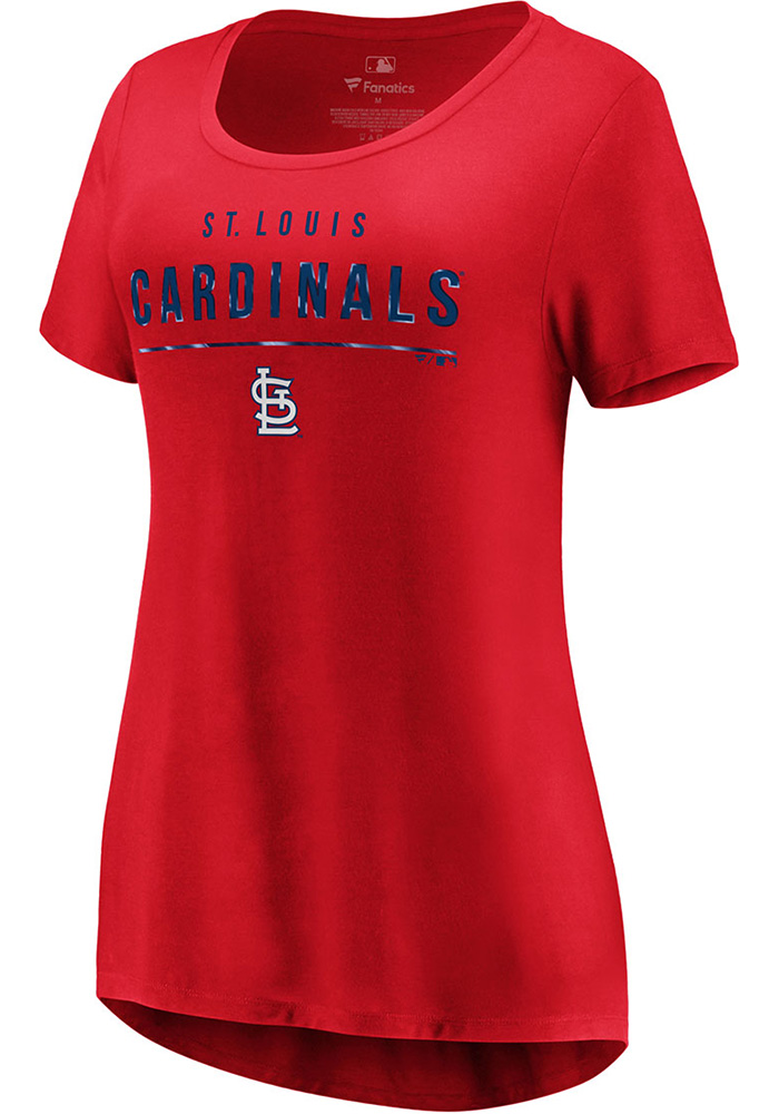 Majestic St Louis Cardinals Womens Red Over Everything Short Sleeve T-Shirt - Image 1