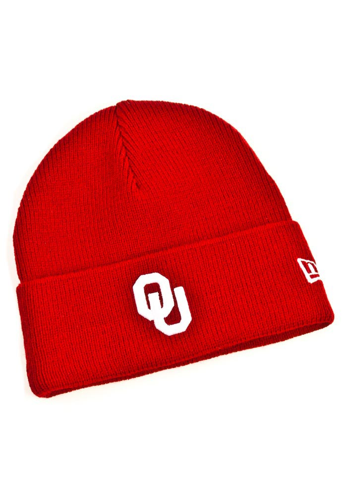 New Era Oklahoma Sooners Crimson Cuffed Youth Knit Hat - Image 1