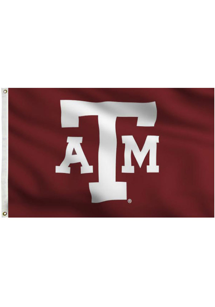 Texas A&M Aggies 3x5 Maroon Grommet Maroon Silk Screen Grommet Flag - Image 1