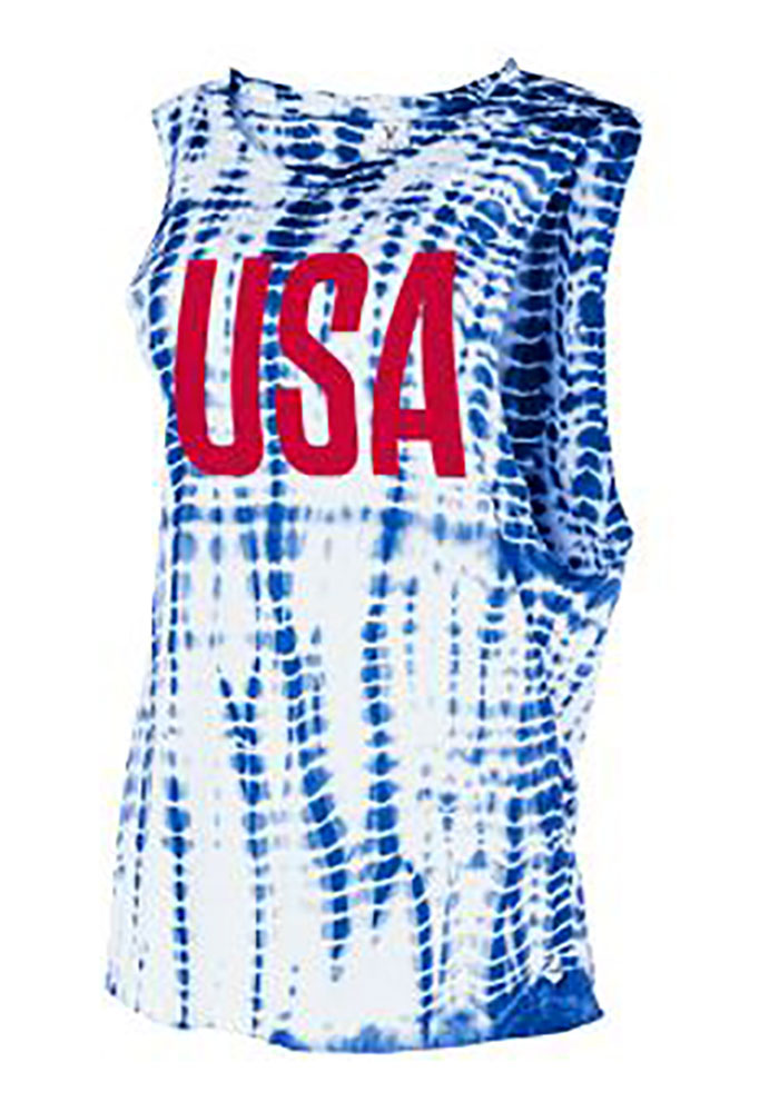 Team USA Womens White Alligator Wash Short Sleeve Muscle Tank Top - Image 1