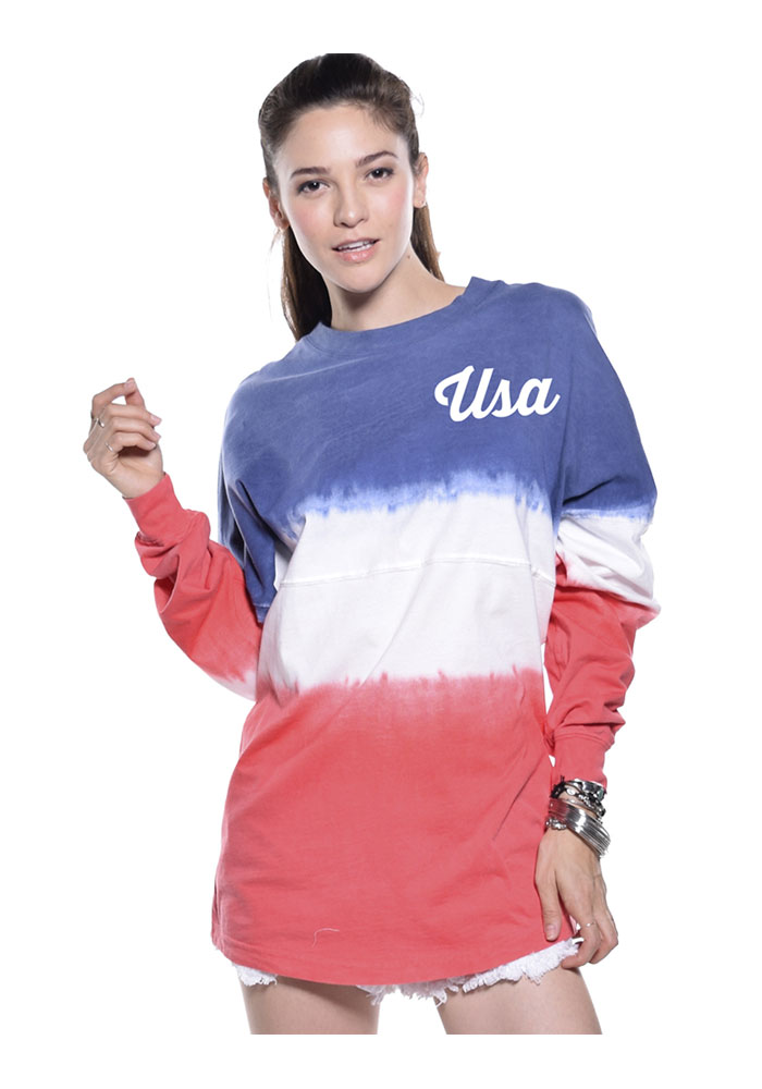 Team USA Womens Red White Blue Tie-Dye Football Long Sleeve T Shirt - Image 1