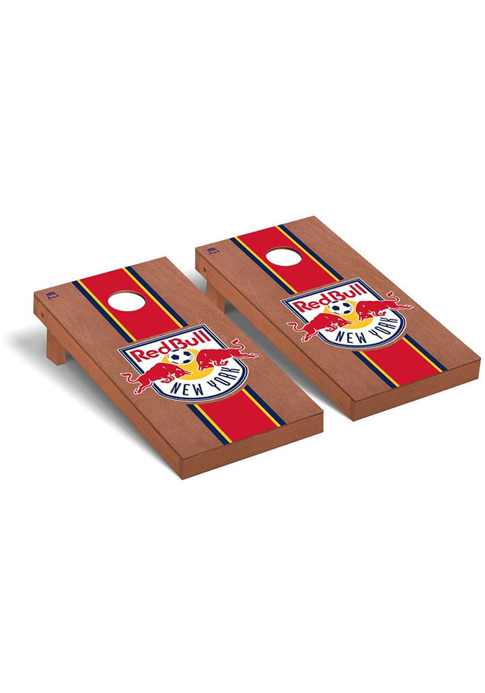 New York Red Bulls Rosewood Stained Regulation Cornhole Tailgate Game - Image 1