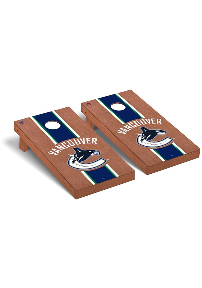 Vancouver Canucks Rosewood Stained Regulation Cornhole Tailgate Game - Image 1