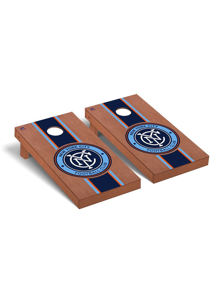 New York City FC Rosewood Stained Regulation Cornhole Tailgate Game - Image 1