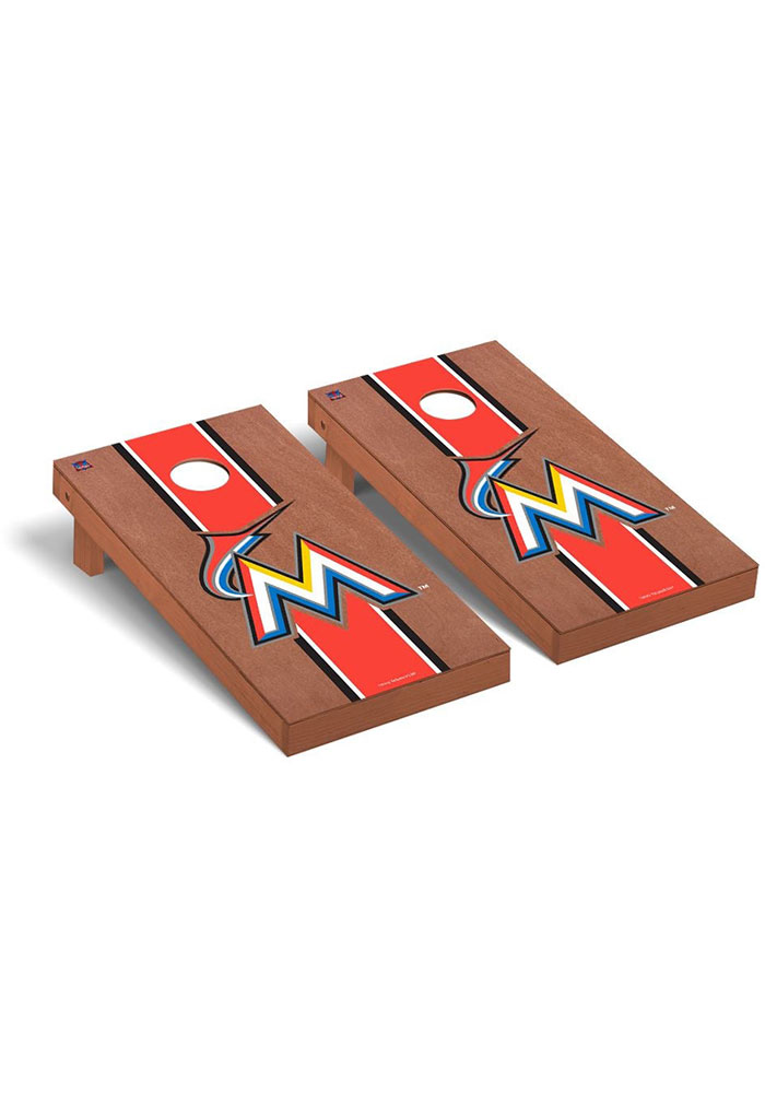 Miami Marlins Rosewood Stained Regulation Cornhole Tailgate Game - Image 1