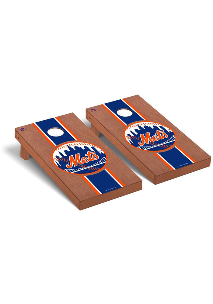 New York Mets Rosewood Stained Regulation Cornhole Tailgate Game - Image 1