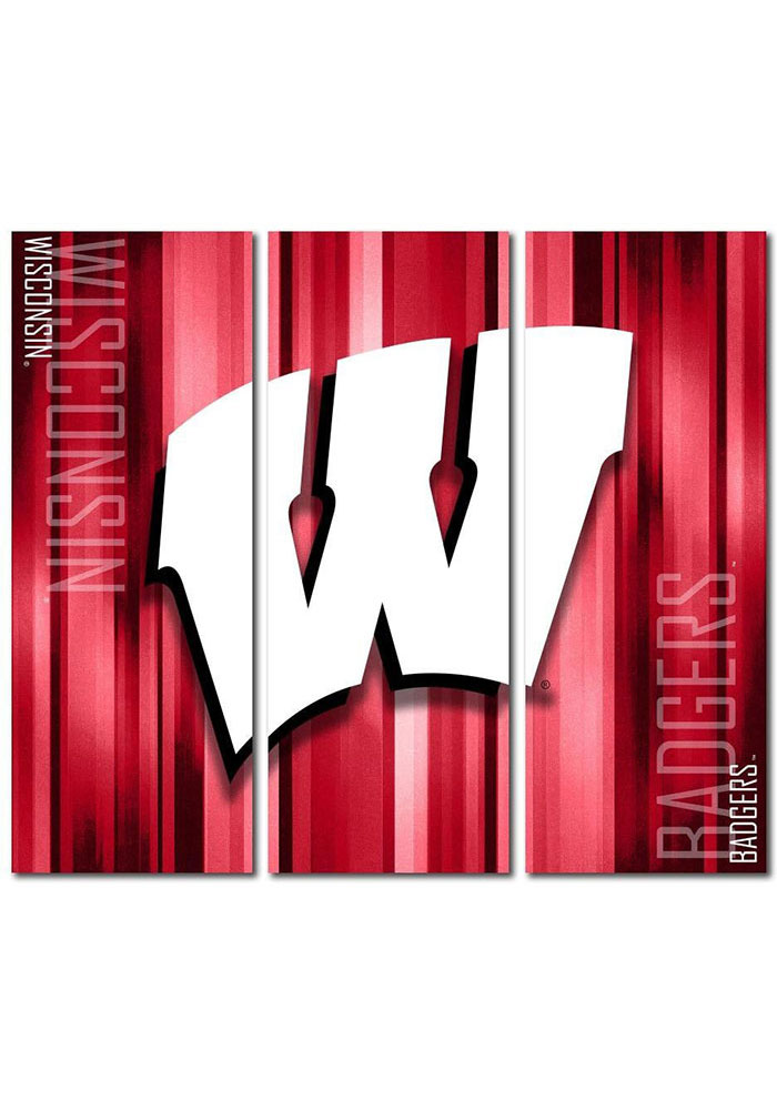 Wisconsin Badgers 3 Piece Rush Canvas Wall Art - Image 1