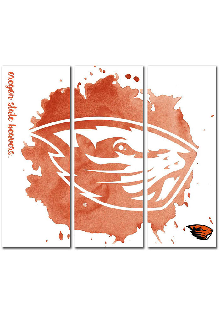 Oregon State Beavers 3 Piece Watercolor Canvas Wall Art - Image 1
