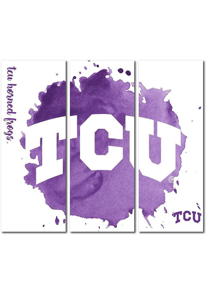 TCU Horned Frogs 3 Piece Watercolor Canvas Wall Art - Image 1