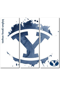BYU Cougars 3 Piece Watercolor Canvas Wall Art