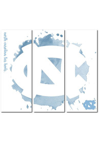 North Carolina Tar Heels 3 Piece Watercolor Canvas Wall Art