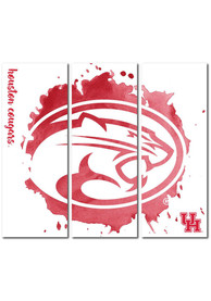 Houston Cougars 3 Piece Watercolor Canvas Wall Art
