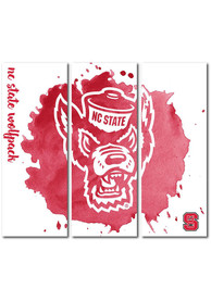 NC State Wolfpack 3 Piece Watercolor Canvas Wall Art