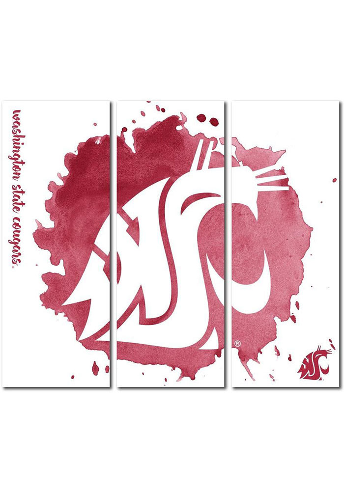 Washington State Cougars 3 Piece Watercolor Canvas Wall Art - Image 1