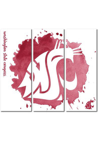 Washington State Cougars 3 Piece Watercolor Canvas Wall Art