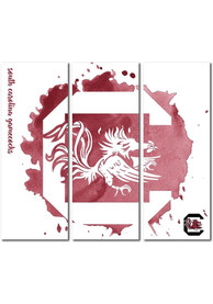 South Carolina Gamecocks 3 Piece Watercolor Canvas Wall Art