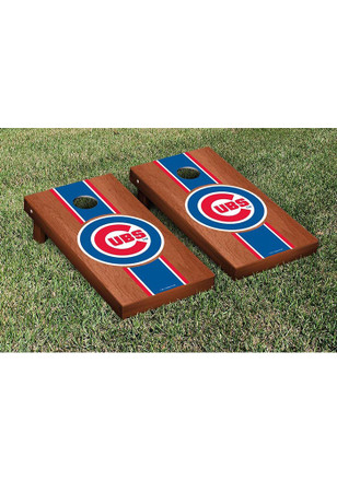 Chicago Cubs Rosewood Stained Stripe Version Cornhole Tailgate Game