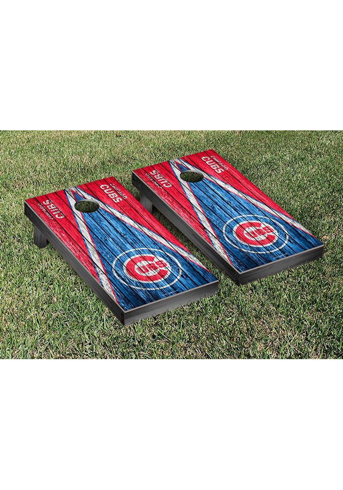 Chicago Cubs Triangle Weathered Version Cornhole Tailgate Game - Image 1