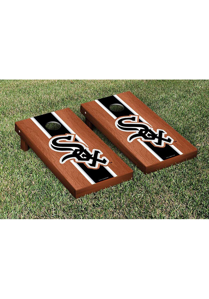 Chicago White Sox Rosewood Stained Stripe Version Cornhole Tailgate Game - Image 1