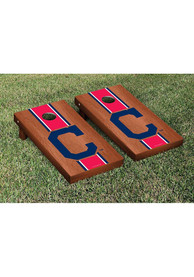 Cleveland Indians Rosewood Stained Stripe Version Cornhole Tailgate Game