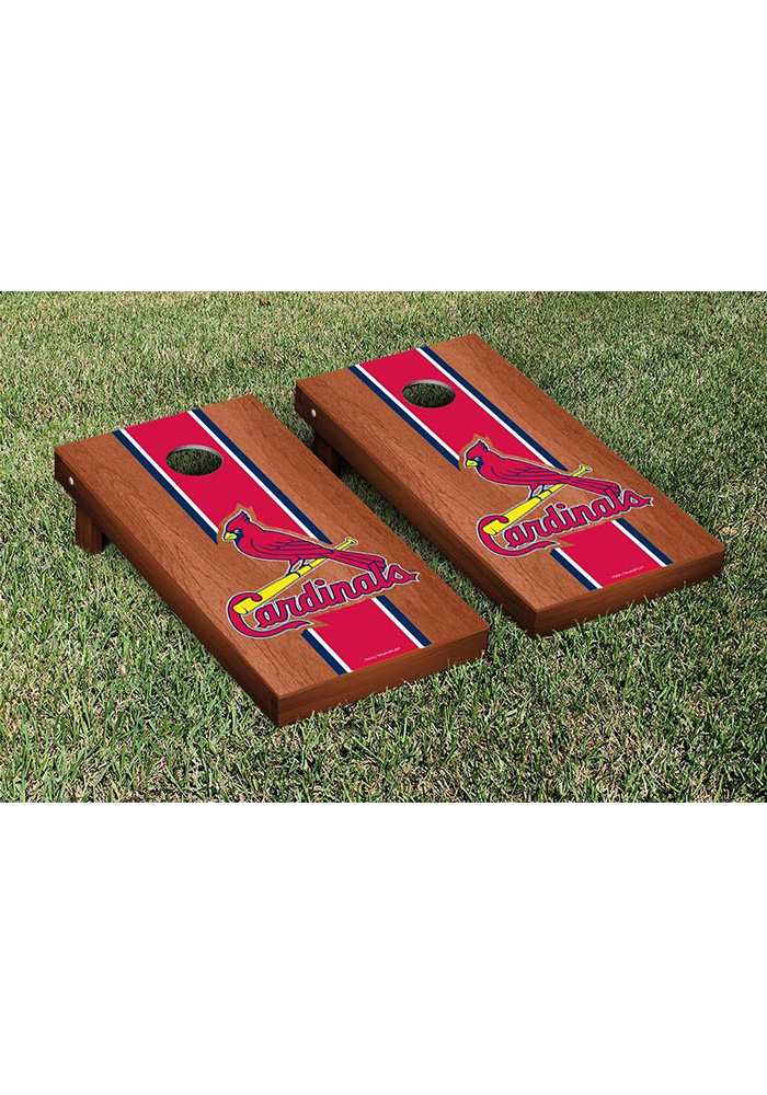 St Louis Cardinals Rosewood Stained Stripe Version Cornhole Tailgate Game - Image 1